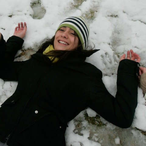 Making snow angels in the Loyola horseshoe