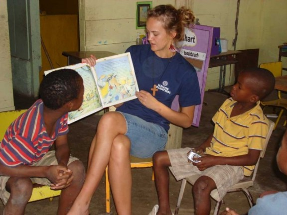 Shannon Hill teaches students at a Jamaican school