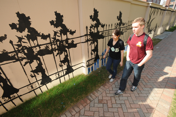 Visual arts students create artwork on campus